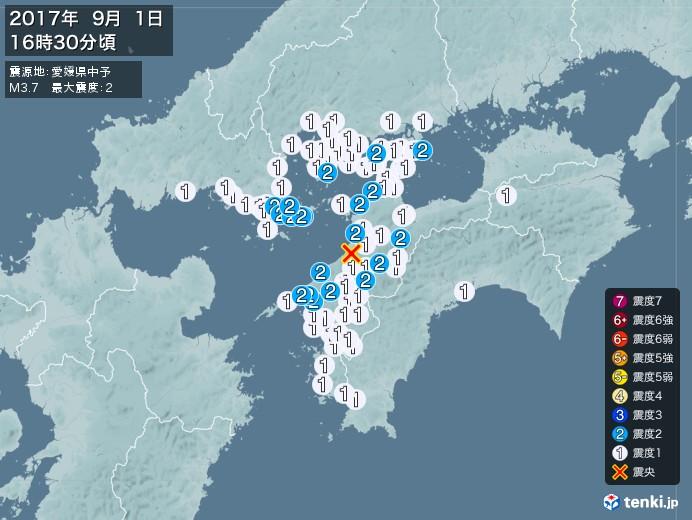 地震情報(2017年09月01日16時30分発生)