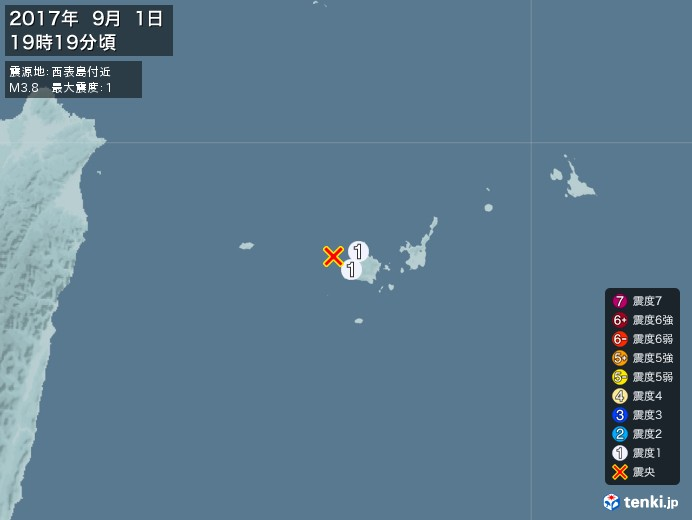 地震情報(2017年09月01日19時19分発生)