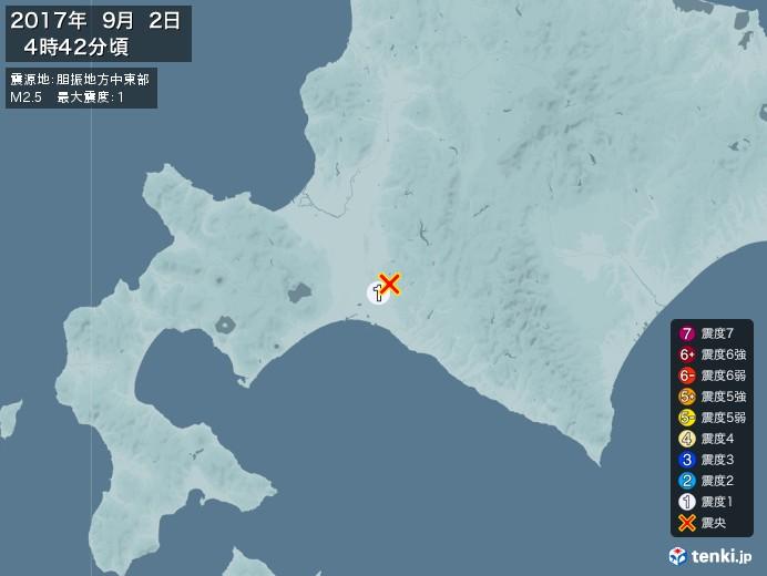 地震情報(2017年09月02日04時42分発生)