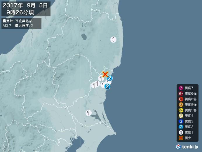 地震情報(2017年09月05日09時26分発生)