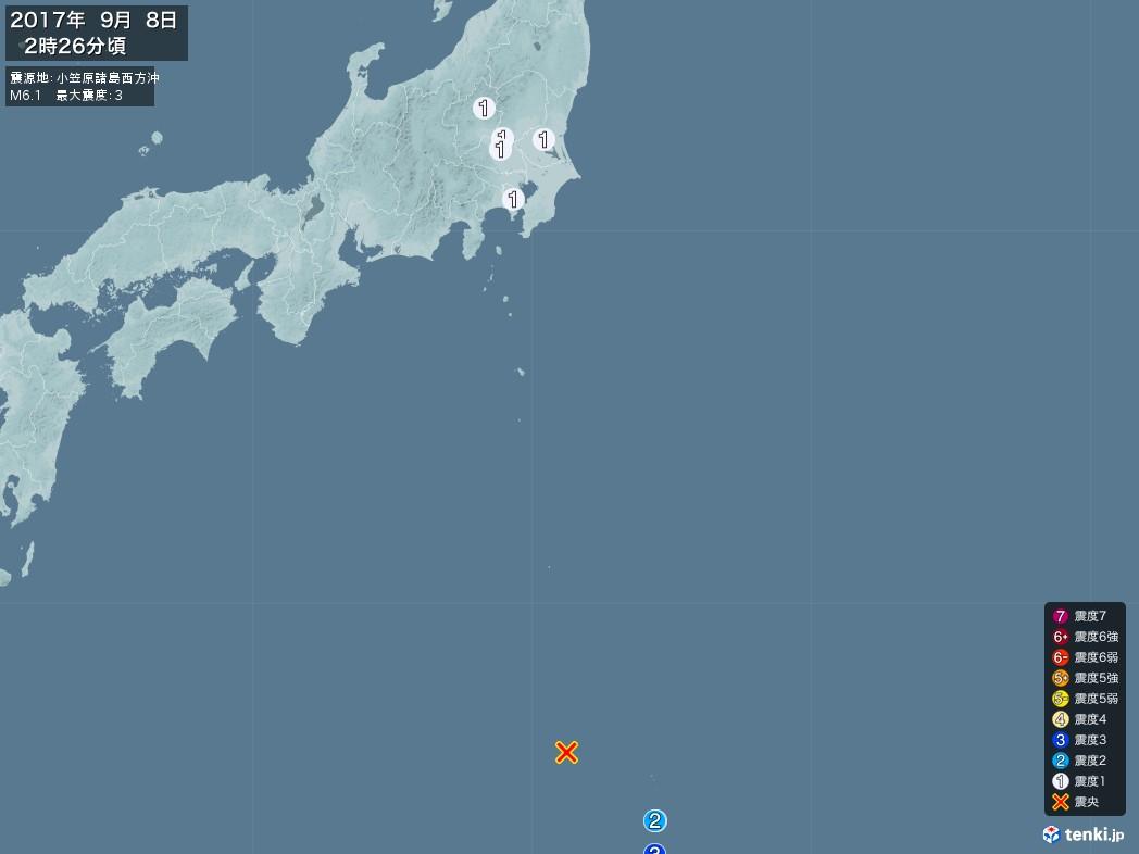 地震情報 2017年09月08日 02時26分頃発生 最大震度:3 震源地:小笠原諸島西方沖(拡大画像)