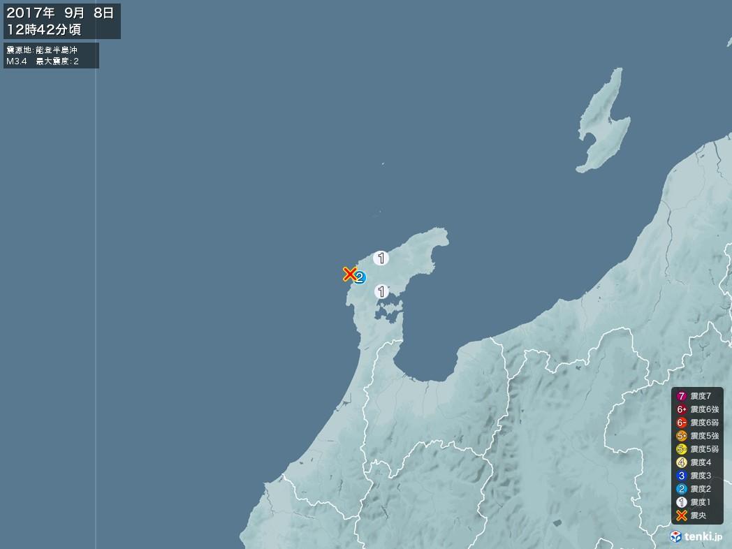 地震情報 2017年09月08日 12時42分頃発生 最大震度:2 震源地:能登半島沖(拡大画像)