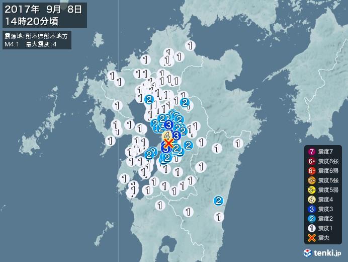 地震情報(2017年09月08日14時20分発生)