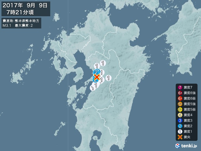 地震情報(2017年09月09日07時21分発生)