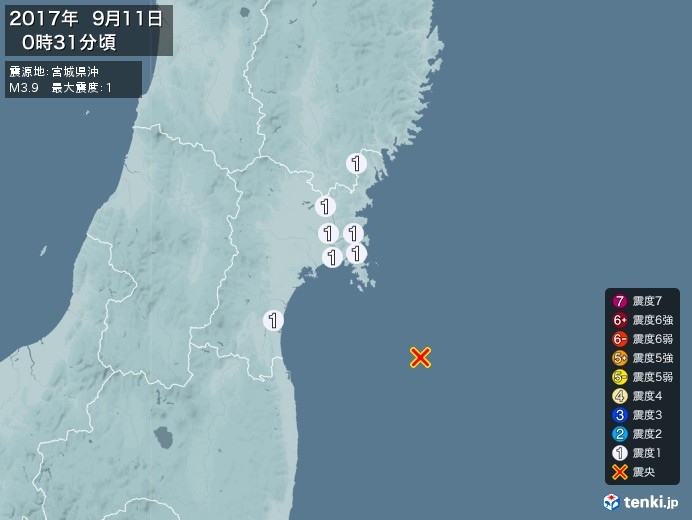 地震情報(2017年09月11日00時31分発生)