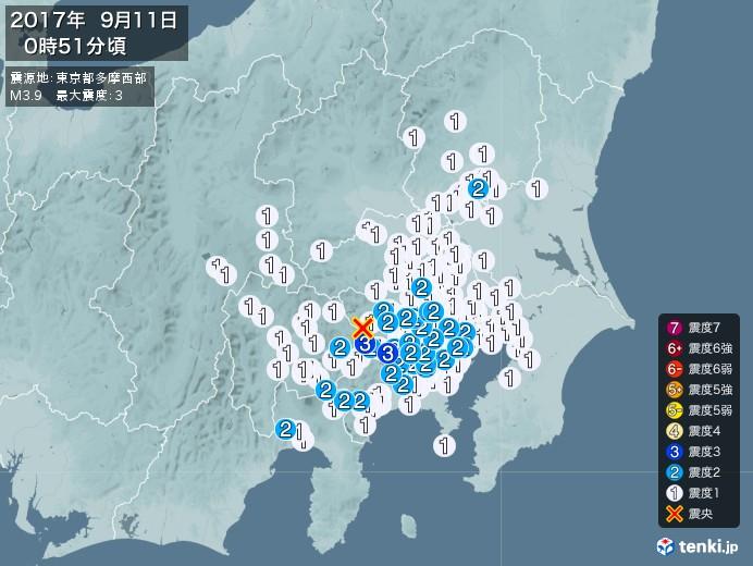 地震情報(2017年09月11日00時51分発生)
