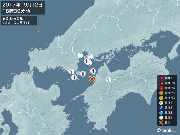 地震情報(2017年09月12日18時39分発生)
