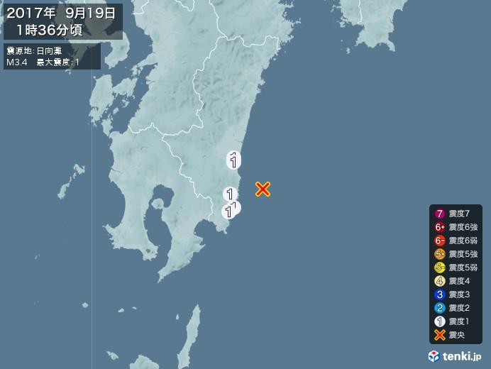 地震情報(2017年09月19日01時36分発生)