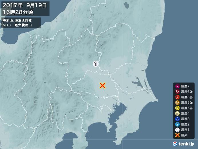 地震情報(2017年09月19日16時28分発生)