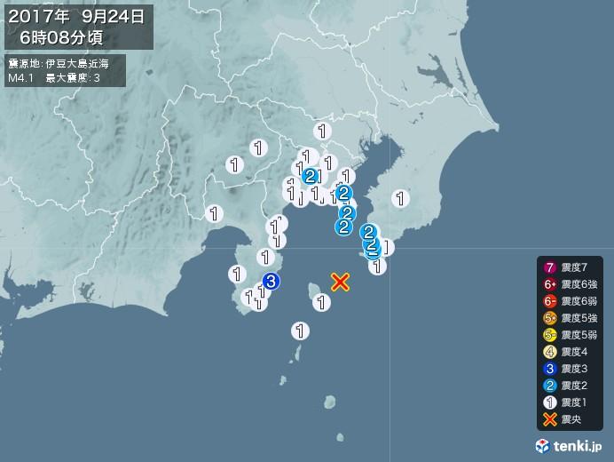 地震情報(2017年09月24日06時08分発生)