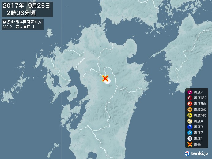 地震情報(2017年09月25日02時06分発生)