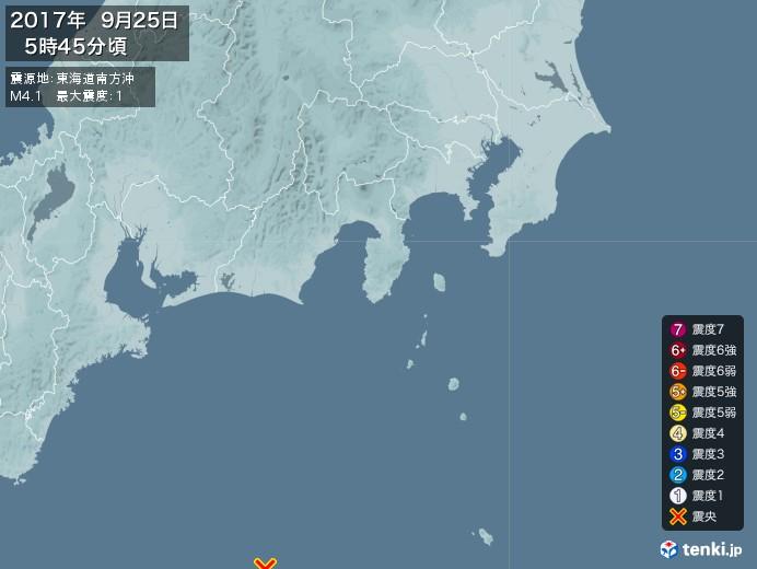 地震情報(2017年09月25日05時45分発生)