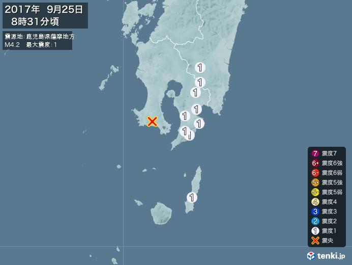 地震情報(2017年09月25日08時31分発生)