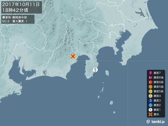地震情報(2017年10月11日18時42分発生)