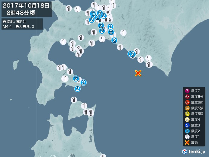 地震情報(2017年10月18日08時48分発生)