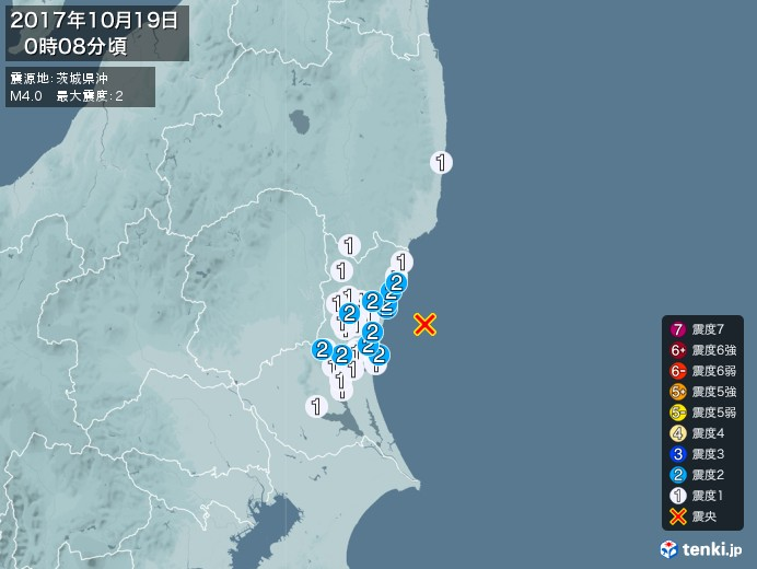 地震情報(2017年10月19日00時08分発生)
