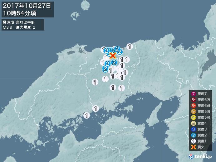 地震情報(2017年10月27日10時54分発生)