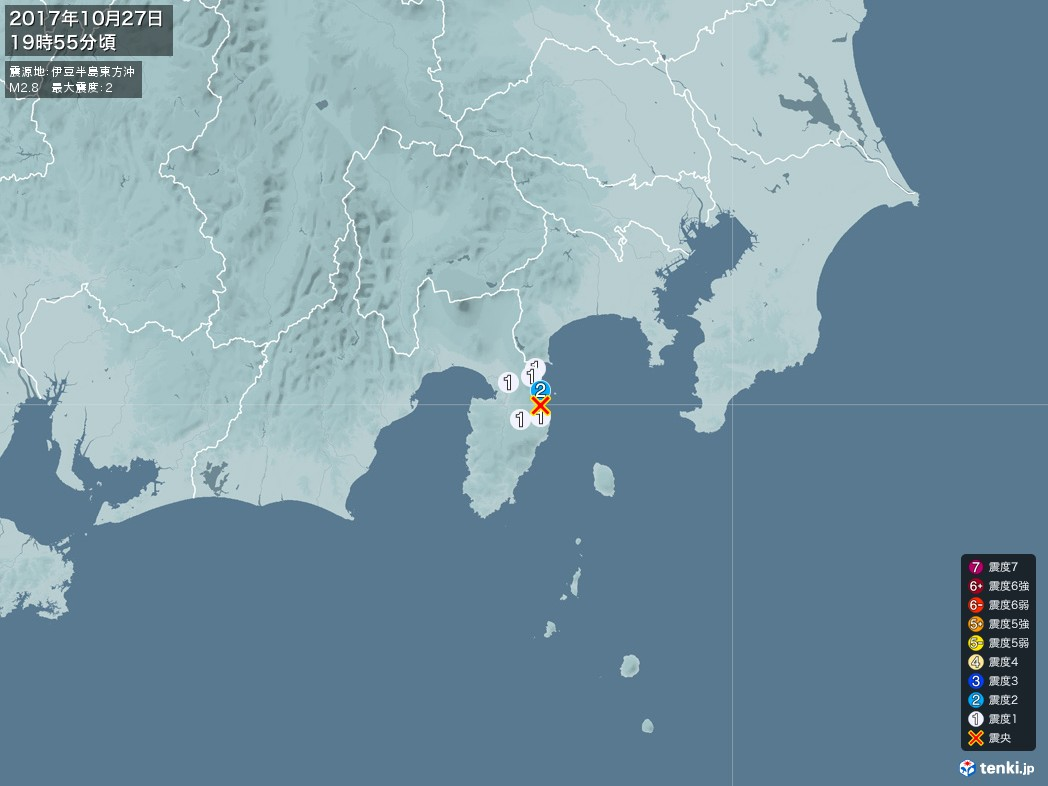 地震情報 2017年10月27日 19時55分頃発生 最大震度:2 震源地:伊豆半島東方沖(拡大画像)