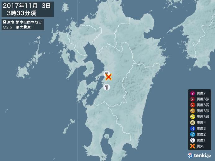 地震情報(2017年11月03日03時33分発生)