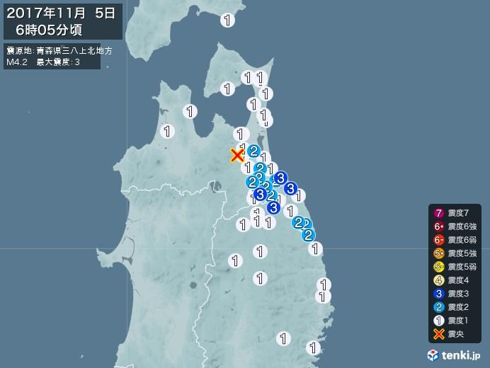 地震情報(2017年11月05日06時05分発生)