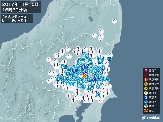 地震情報(2017年11月05日16時30分発生)