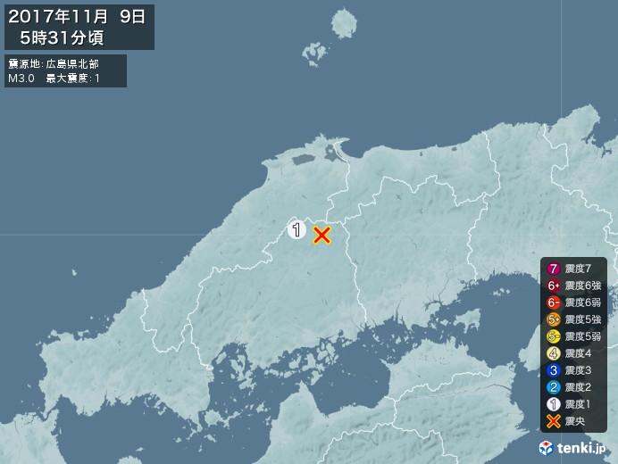 地震情報(2017年11月09日05時31分発生)