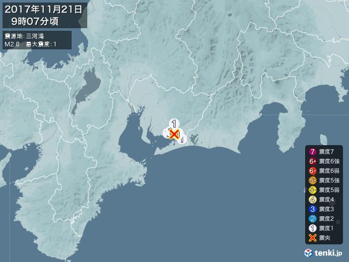 地震情報(2017年11月21日09時07分発生)