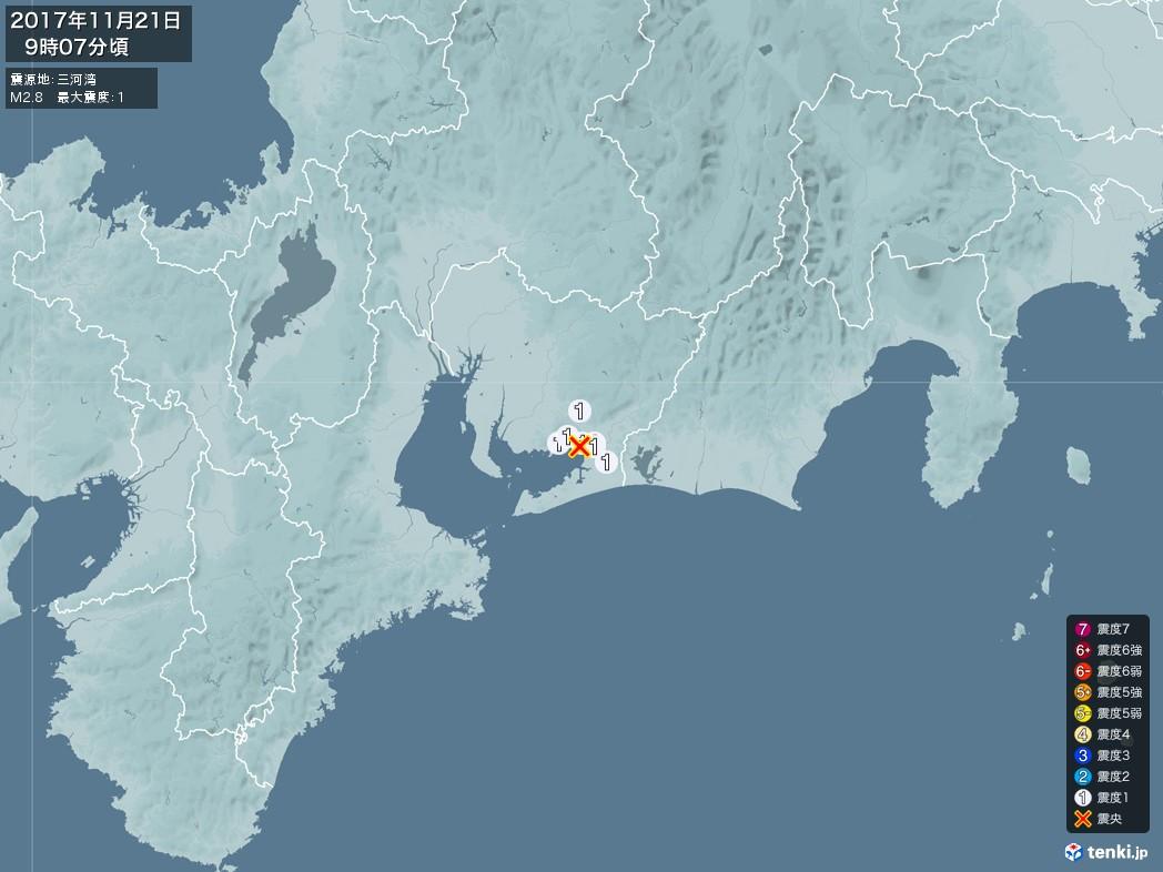地震情報 2017年11月21日 09時07分頃発生 最大震度:1 震源地:三河湾(拡大画像)