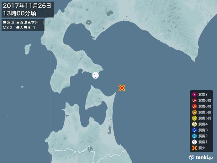 地震情報(2017年11月26日13時00分発生)
