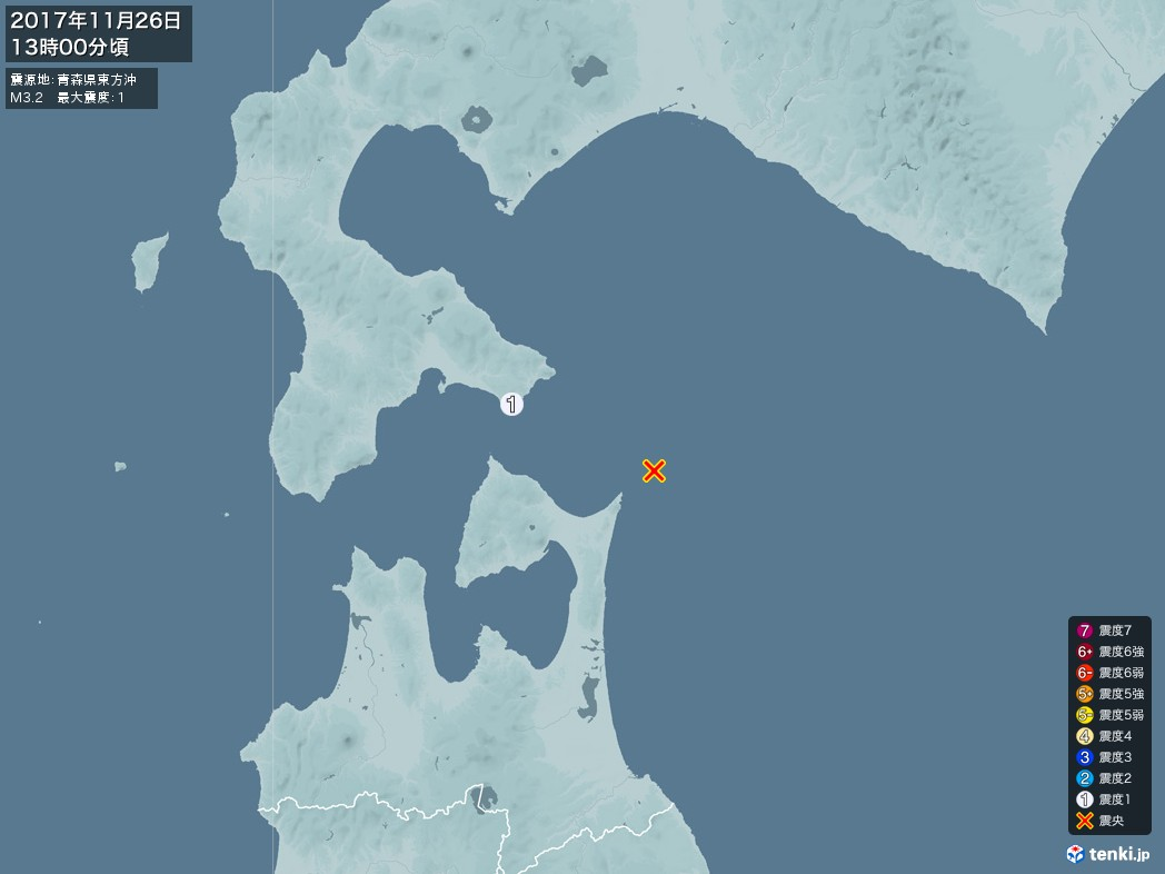地震情報 2017年11月26日 13時00分頃発生 最大震度:1 震源地:青森県東方沖(拡大画像)