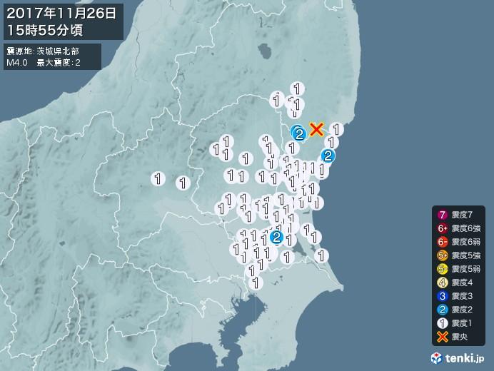 地震情報(2017年11月26日15時55分発生)