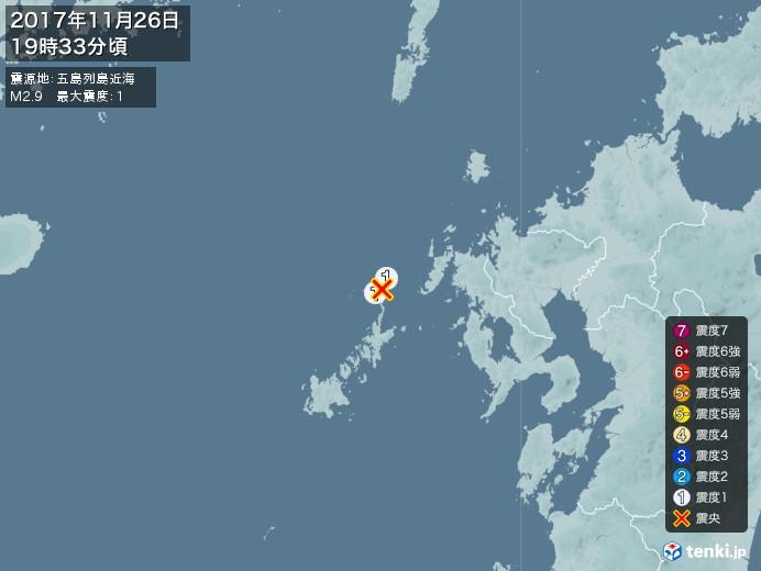 地震情報(2017年11月26日19時33分発生)