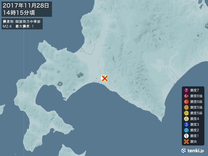 地震情報(2017年11月28日14時15分発生)