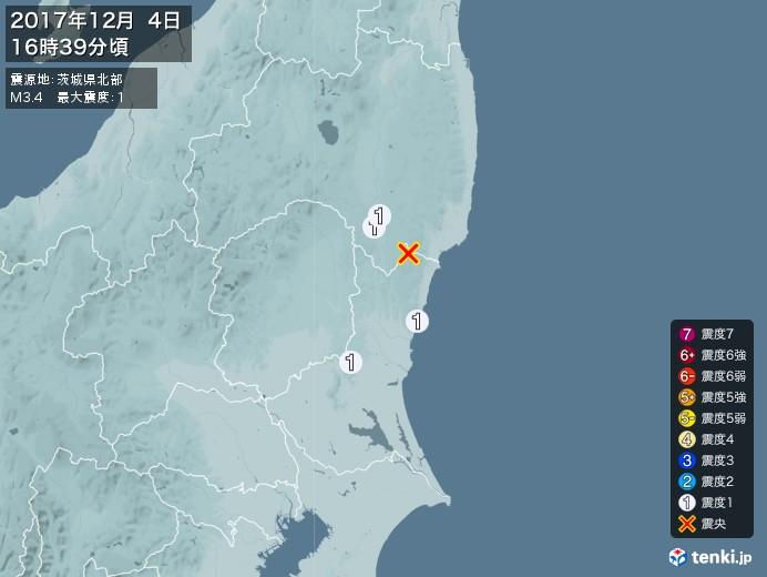 地震情報(2017年12月04日16時39分発生)