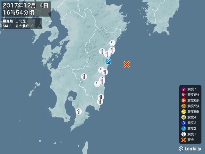 地震情報(2017年12月04日16時54分発生)
