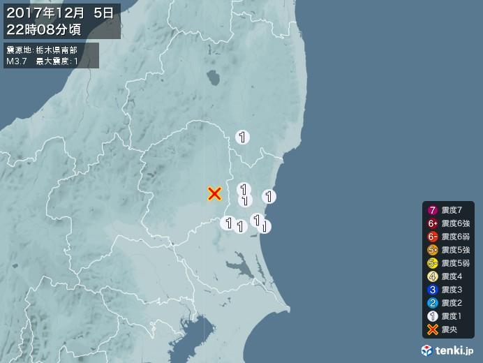 地震情報(2017年12月05日22時08分発生)