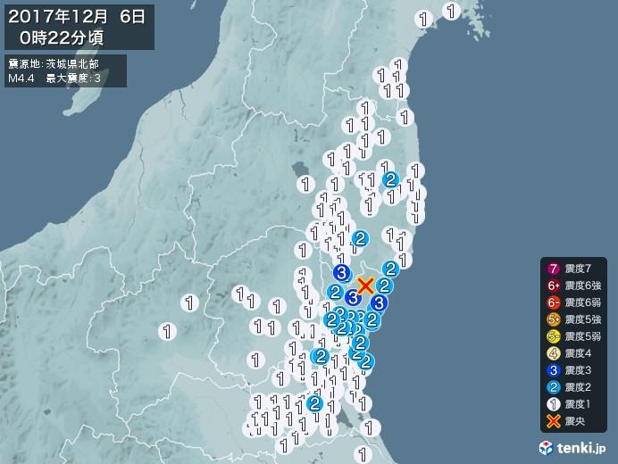 地震情報(2017年12月06日00時22分発生)