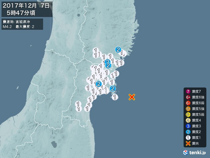 地震情報(2017年12月07日05時47分発生)
