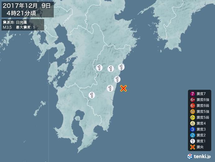 地震情報(2017年12月09日04時21分発生)