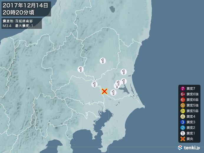 地震情報(2017年12月14日20時20分発生)