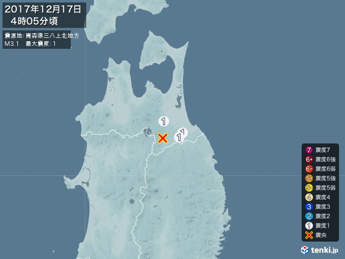 地震情報(2017年12月17日04時05分発生)