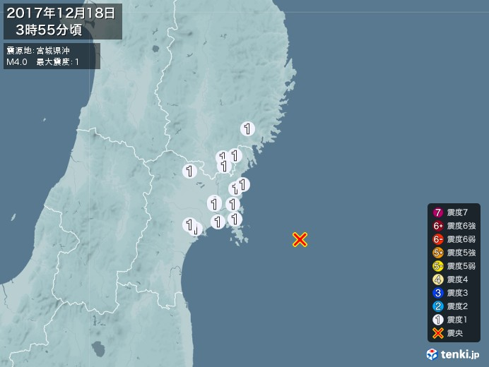 地震情報(2017年12月18日03時55分発生)