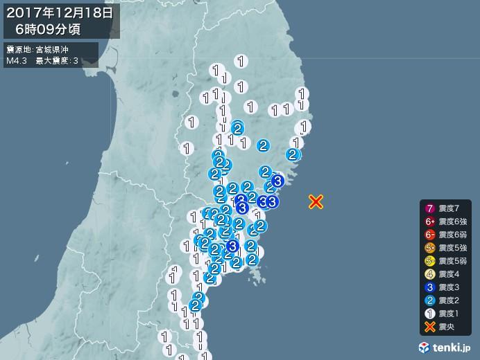 地震情報(2017年12月18日06時09分発生)