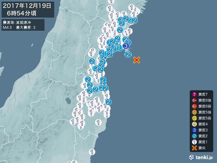 地震情報(2017年12月19日06時54分発生)
