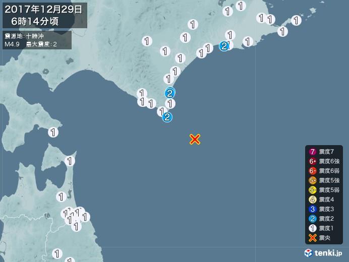 地震情報(2017年12月29日06時14分発生)