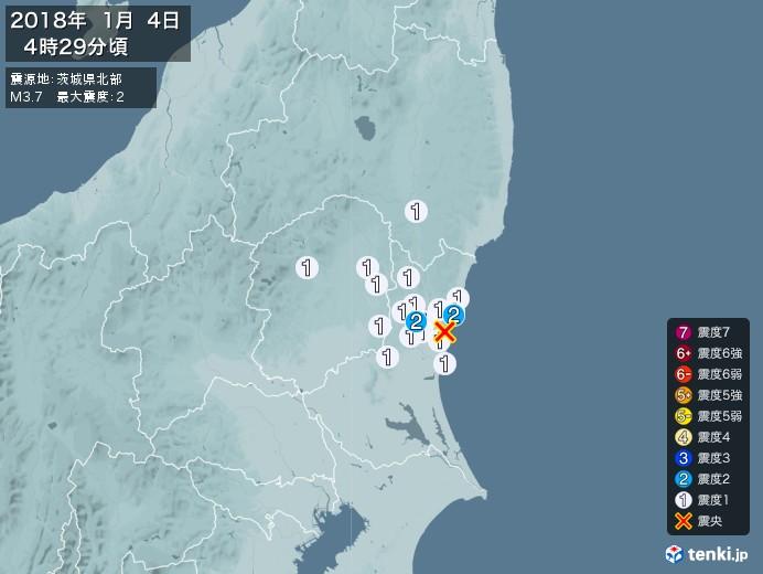 地震情報(2018年01月04日04時29分発生)