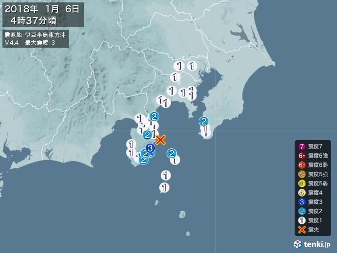 地震情報(2018年01月06日04時37分発生)