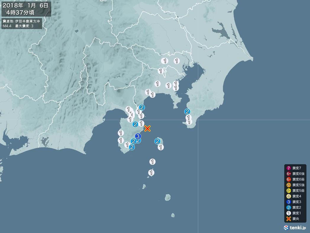 地震情報 2018年01月06日 04時37分頃発生 最大震度:3 震源地:伊豆半島東方沖(拡大画像)