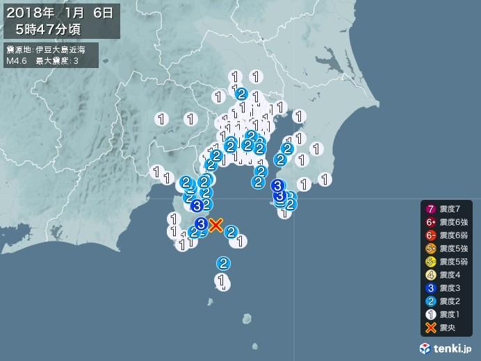 地震情報(2018年01月06日05時47分発生)