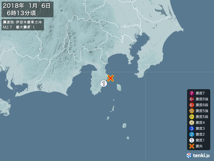 地震情報(2018年01月06日06時13分発生)